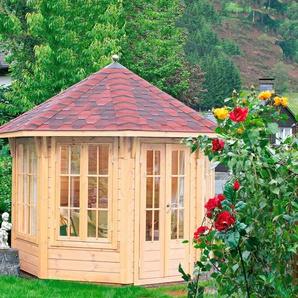 WOLFF FINNHAUS Holzpavillon »Milano 3.0«, BxT: 360x360 cm, mit rot-schwarzen Schindeln