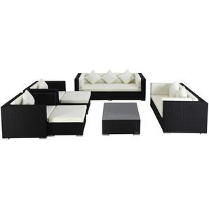 OUTFLEXX Loungemöbel-Set, schwarz, Polyrattan, für 9 Personen, inkl. Kaffeetisch, wasserfeste Kissenbox