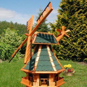 Windmühle 3 stöckig kugelgelagert 1,40m Bitum grün mit Beleuchtung Solar, Solarbeleuchtung