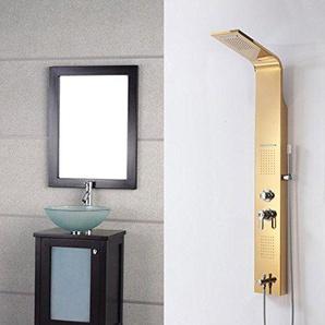 AllureFeng Edelstahl Niederschlag Golden Shower Panel Regen Massagesystem mit Jets & Hand Dusche Tower Duschsäule