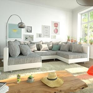 Wohnlandschaft Clovis Weiss Hellgrau Modulares Sofa, Design Wohnlandschaften, Couch Loft, Modulsofa, modular