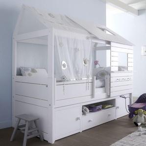 LIFETIME Hütten-Kojenbett aus Kiefer massiv weiß - Sternenglanz