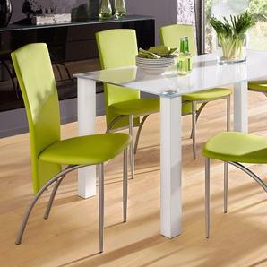 Essgruppe , weiß, Tischbreite 160cm, strapazierfähig, FSC®-zertifiziert, grün