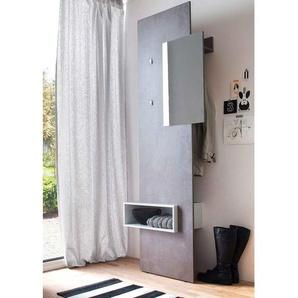 Kompaktgarderobe in Beton-Optik und weiß, Garderobenpanee mit Spiegel, Maße: B/H/T ca. 80/205/34 cm