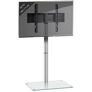 VCM 17132 TV Standfuß LED Ständer Fernseh Alu Glas Universal VESA Klarglas AlaniSilber