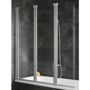 Schulte Badewannenaufsatz 3-teilig Alunatur Echtglas Klar hell 118 x 130 cm