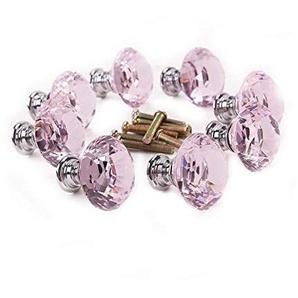 JER Transparent Aluminium Diamant-Form-Schublade Knöpfe, Glas, Kristall Schublade Knöpfe, Schublade zieht einen Griff 10pcs rosa. Home Dekoration