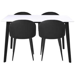Essgruppe | Esstisch Schwarz/Weiß mit 4 Samt Stühlen Schwarz - Björk & Alice (Lieferbar ab Woche 8, 2020)
