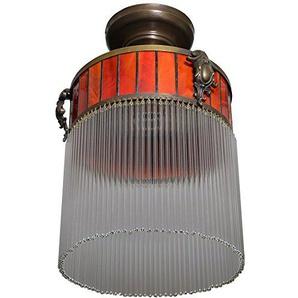 Art Deco Hängelampe Lampe Deckenlampe Glas Leuchte Messing Deckenleuchte Jugends Rot 35 x 21 cm