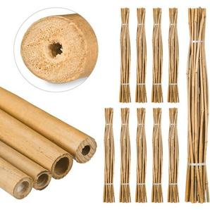250 x Bambusstäbe 150cm, aus natürlichem Bambus, Bambusstangen als Rankhilfe oder Deko, Bambusrohre zum Basteln, natur - RELAXDAYS