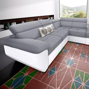 COTTA Ecksofa, wahlweise mit Bettfunktion, weiß, Kunstleder SOFTLUX® / Luxus-Microfaser