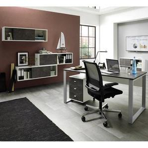 Büromöbel Set MERIDA-01, Weiß / Basalto-Dunkel, 6-teilig