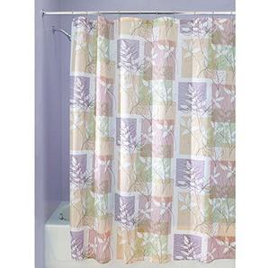 iDesign Vivo Duschvorhang | Design Duschvorhang in der Größe 183,0 cm x 183,0 cm | auffälliges Duschvorhang Motiv mit Blättern | mit 12 Metallösen | Polyester bunt