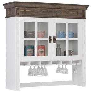 Home affaire Aufsatzvitrine »Vinales« im klassischen Landhausstil, Breite 113 cm, weiß