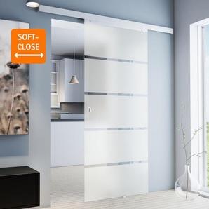 Tür Schiebetür Glas Blockstreifen satiniert 900 x 2035 Zimmertür Glasschiebetür Glastür - Griffmuschel+Softclose - inova Star