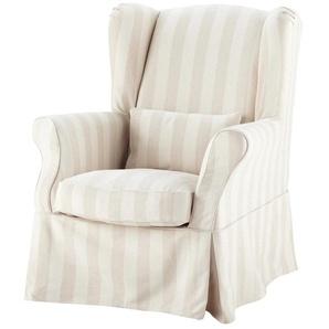 Sesselbezug aus Baumwolle, beige gestreift Cottage