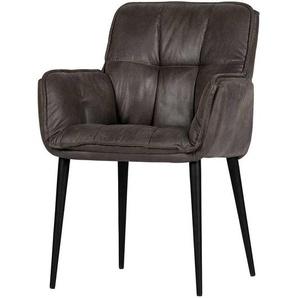 Armlehnen Esszimmerstühle in Grau Kunstleder vier Stuhlbeinen aus Metall (2er Set)