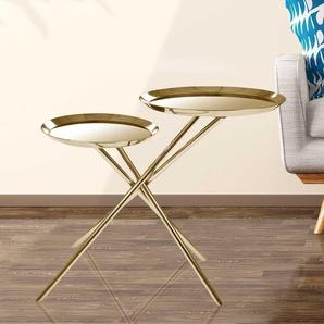 Goldfarbener Beistelltisch mit zwei runden Spiegelglasplatten 70 cm breit