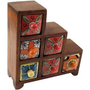 bambus-discount.com Schubfachschränkchen mit 6 bunten Karamikfächern - Apothekerschrank Küche, Gewürzschrank, Schubfachschränkchen