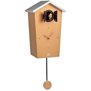 KOOKOO Birdhouse Limited Edition Copper, Moderne Kuckucksuhr, Design Wanduhr mit 12 Vogelstimmen oder Kuckuck, mit Pendel, Aufnahmen aus der Natur von Jean-Claude Roché