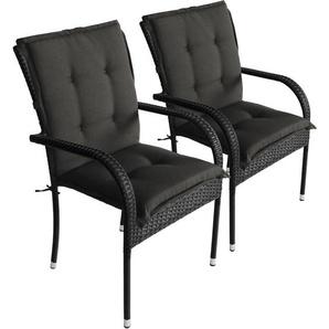 2er Set Komfort Sitzauflage Schwarz, 103x49x5cm, UV- & Wasserbeständig, Niedriglehner Sitzkissen, Outdoorkissen - WOHAGA®