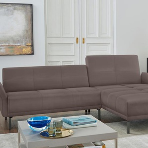 Hülsta Sofa Eckcouch »hs.410«, grau, Recamiere rechts, B/H/T: 260x44x60cm, hoher Sitzkomfort