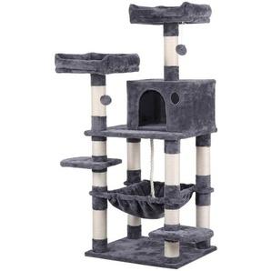 Stabiler Kratzbaum mit Sisal-Kratzstangen Hängematte, Höhle, Spielsisal 147 cm Kletterbaum für Katzen - YAHEETECH