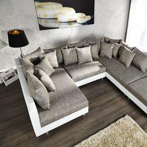Design Sofa LOFT XXL 300cm weiß grau mit Hocker Strukturstoff inkl. großem Kissenset
