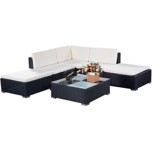 COSTWAY Poly Rattan Rattanmoebel Gartenmoebel Lounge Set Gartenlounge Gartengarnitur Gartenset Sitzgruppe Sitzgarnitur Sofa schwarz