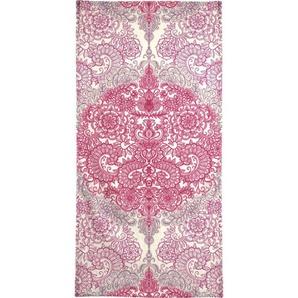 Handtuch »Happy Place Doodle in Pink«, Juniqe, Weiche Frottee-Veloursqualität
