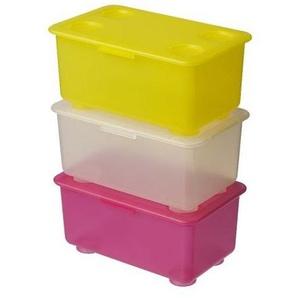 IKEA GLIS Boxen mit Deckel in gelb, rosa und weiß; 3 Stück