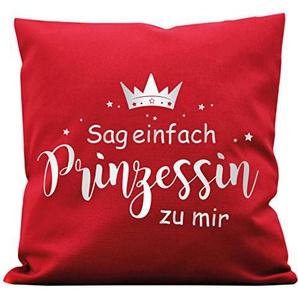 Wandtattoo-Loft Kissen Krone mit Spruch Sag einfach Prinzessin zu Mir Baumwolle / 07 Stoff rot + Schrift Silber (metallic)