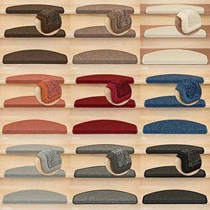Kettelservice-Metzker® Stufenmatten Treppen-Teppich Astral | Halbrund 65x24cm Trittfläche, inkl. Fleckentferner, Blau 18 Stück