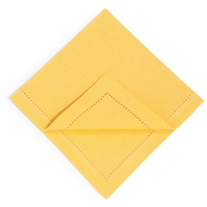 4 Servietten aus Baumwolle senfgelb 40 x 40 cm