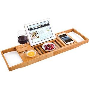 Bambus Badewannenablage Caddy Tablett (erweiterbar) Spa Organizer mit ausziehbaren Seiten | Natürliches, umweltfreundliches Holz | Integrierte Halterung für Tablet, Smartphone, Wein, Buch