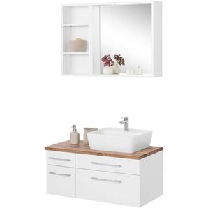 Badmöbel-Set mit Regal und Spiegel »Davos«, weiß, Becken rechts, Held Möbel
