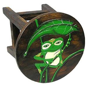 Simandra Holzhocker Kinderhocker Hocker Sitzhocker Fußbank Massivholz Schemel Stuhl mit Tiermotiv Deko braun Farbe Frosch grün