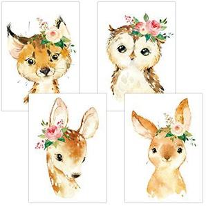 Lalelu-Prints Set Kinderzimmer Babyzimmer Poster Bilder DIN A4 | Mädchen Junge Deko | Kinderzimmer Dekoration | Waldtiere Aquarell (Blumen REH, Luchs, Hase, Eule)