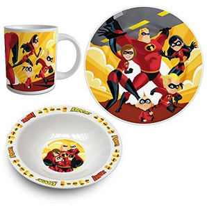 empireposter Geschirrset - Incredibles, The Kindergeschirr Keramik - Teller, Tasse, Müslischale - Geschenkset in passender Box