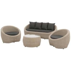 OUTLIV. Pesaro Sofagruppe 4tlg. Aluminium/Geflecht inkl. Kissen Graubraun/Schwarz