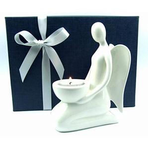 Deko Engel-Figur Weihnachtsengel Porzellan Teelichthalter Geschenkidee zu Weihnachten Geburtstag Hochzeit (Höhe 17 cm)