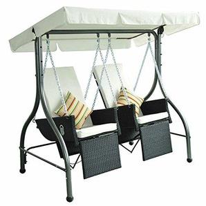 Outsunny 2-Sitzer Hollywoodschaukel Gartenschaukel Schaukelsessel Schaukel mit Sonnendach Polyrattan Schwarz 185 x 120 x 180 cm