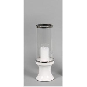 Windlicht H 40 SARA Silber/Weiß