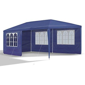 JOM Gartenpavillon inklusiv 6 Seitenwände, 4 x Fenster, 2 x Komplett geschlossen, Kunststoffverbinder, Heringe und seile, 3 x 6 m, Durchmesser 32 x 0.55/24/18 x 0,4 mm, blau