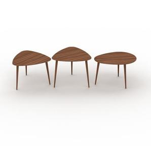 Couchtisch Nussbaum, Holz - Eleganter Sofatisch: Beste Qualität, einzigartiges Design - 59/59/67 x 44/50/44 x 61/61/50 cm, Konfigurator