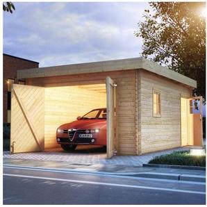 KARIBU Einzel-Garage BxT: 417x571 cm, Einfahrtshöhe: 193 cm, mit Dachfolie