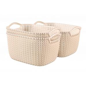 Curver 3er Set Knit Korb S, weiß