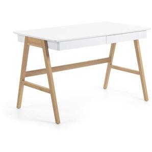 Skandinavischer Schreibtisch in Wei� 4-Fu�gestell aus Eiche Massivholz