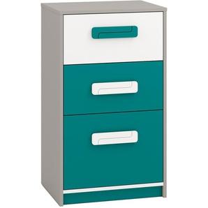 Kinderzimmer - Kommode Renton 17, Farbe: Platingrau / Weiß / Blaugrün - Abmessungen: 94 x 54 x 40 cm (H x B x T), mit 3 Schubladen