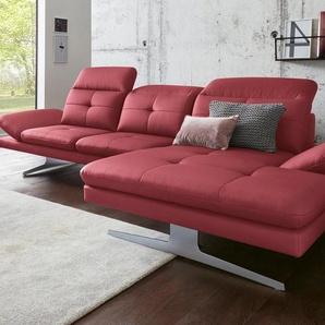 exxpo - sofa fashion Polsterecke, rot, NaturLEDER®